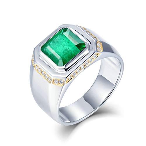 Daesar Anillos de Oro Blanco Para Hombre 18K,Cuadrado Esmeralda Verde 2.5ct Diamante 0.2ct,Plata Verde Talla 18,5