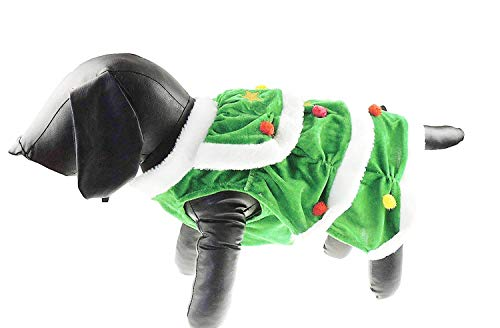 Glamour Girlz feestelijke groene fluwelen kerstboom Bobble Pom Baubles Outfit meisje jongen Jumper kostuum jas, X-Small, Groen