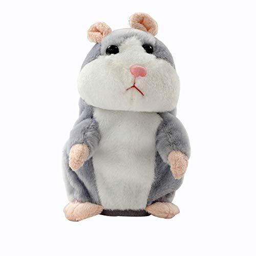 Sprechender Hamster Plüsch Spielzeug Wiederholt was Sie Sagen Mimikry Haustier Elektronische Sprechende Aufzeichnung Stofftier Adorable Interaktives Spielzeug für Baby Kinder (Grau)