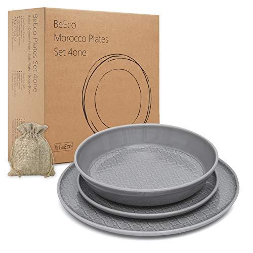 BeEco Marokko-Teller Grau | Handgefertigt | Umweltfreundliches Produkt, 3-teiliges Set für 1 Person | Speiseteller + Beilagenteller + Suppenschüssel | Tolle Geschenkidee