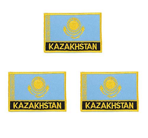 3 Stück Kasachstan bestickte Flaggen-Emblem-Applikation zum Aufbügeln oder Aufnähen.