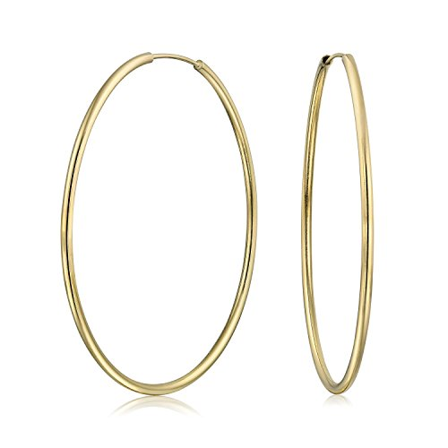 Minimalist Endless Continuous Thin Tube Hoop Earrings 18K Gold Plated Brass For Women Polished Finish 2 Inch Dia