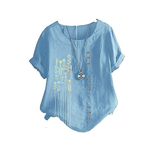 Mayntop Womens T-Shirt Tops Plus Size Linen Flower Grass Graphic...
