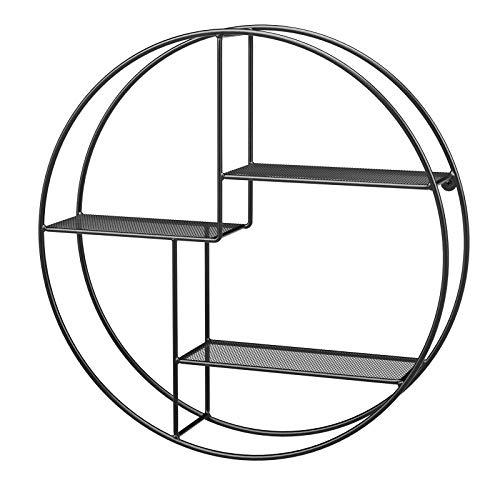 SONGMICS Wandregal aus Metall, rundes Schweberegal mit 3 Gitterablagen, mit 2 Schrauben, 55 x 12 cm (Ø x B), für Wohnzimmer und Flur, Industrie-Design, schwarz LFS01BK