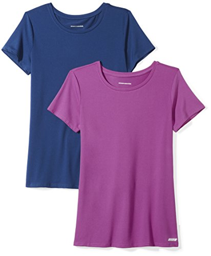 Amazon Essentials 2-Pack Tech Stretch Short-Sleeve Crew T-Shirt Athletic-Shirts, Azul Marino (Navy/Orchid), Small