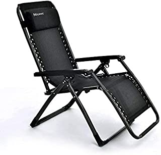 Niceway Foldable Zero Gravity Chair, Reinforcement of Square Steel Tube Structure Chair with Headrest Pillows-380lbs Capacity Black