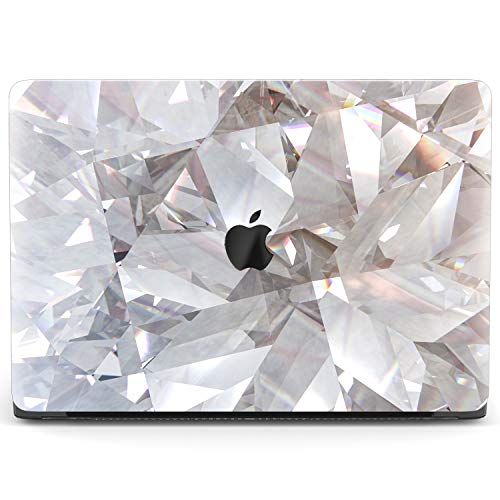 Mertak Hard Case for Apple MacBook Pro 16 Air 13 inch Mac 15 Retina 12 11 2020 2019 2018 2017 Crystals Abstract Design Laptop Print Geometric Clear Protective Touch Bar White Texture Cover Plastic