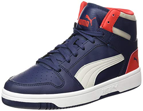 PUMA Rebound Layup SL JR Sneaker, Peacoat Gray Violet High Risk Rot Weiß, 38 EU