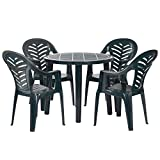 Resol 4 Person Tossa Outdoor Garden Dining Table and Chairs Set - UV Resistant Patio Furniture - Green