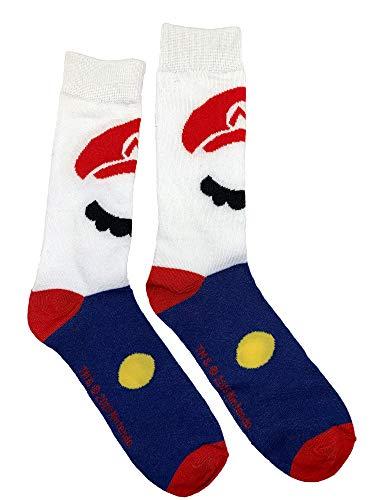 Super Marion Bros Mario Crew Sock Pair White