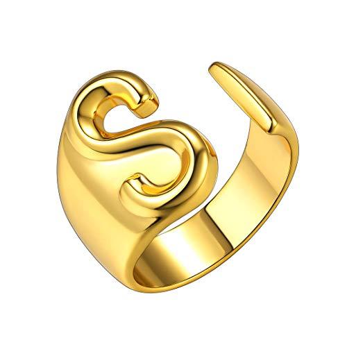 GoldChic Jewelry Dorado Anillo Ajustable para Hombre y Mujer - Letra S mayuscula A-Z Disponibles Laton Cobre - Gratis Caja de Regalo