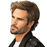 Kaneles Mens Wigs Short Straight Brown mix Natural Synthetic Cosplay Hair Wig for Male Guy