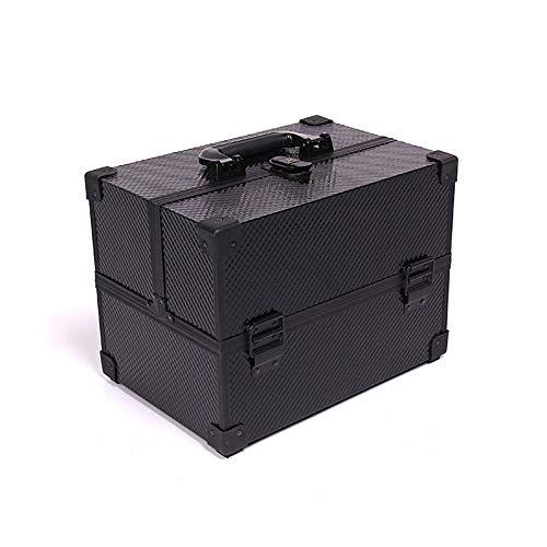 Feixunfan Cas cosmétique Black Box Maquillage Boîte Cosmétiques en Aluminium De Beauté Durable Cas cosmétique Voyage Portable