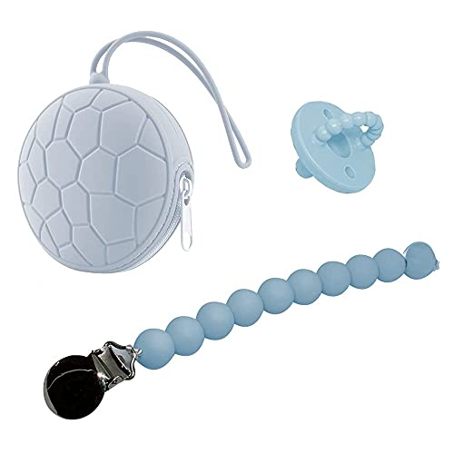 Pacifier| Pacifier Holder & Clip | Pacifier case Comes with Pacifier and Pacifier Clip | BPA Free Protective Storage Container | Perfect for Diaper Bag, Home Outdoor Travel (Light Blue)
