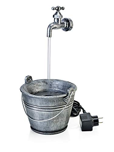W LED-Gartenbrunnen *Wasserhahn* Origineller Outdoor-Brunnen – ideal zum Aufstellen an Haus- oder Garagenwand, am Baum