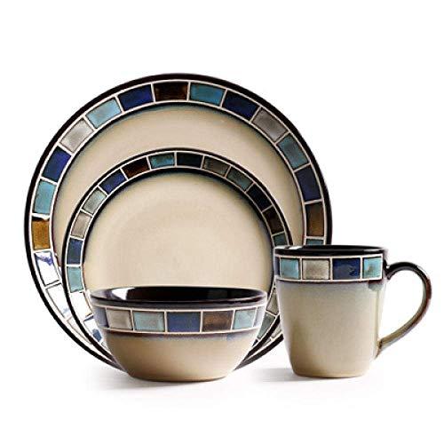 Juego de platos para cena, 1 Uds., Vajilla de cerámica con entramado cuadrado de color bajo vidriado, vajilla para ramen, cuenco para ensalada, bistec, fruta, pastel, sushi, placa decorativa para alm