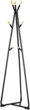 MQQ Multifunctional Iron Coat Rack Stand, Coat Tree, Hall Tree Free Standing, with 9 Beech Wood Hooks, for Clothes, Hat, Bag (Color : Black)