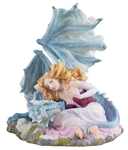 Onbekend decoratiefiguur Dragonlove meisje met witte drakenfiguur vrouw drak