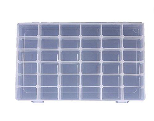 Fligatto 36 Grid Coque Box clair Coque en plastique de stockage de bijoux Manucure Maquillage Boîte de rangement en plastique