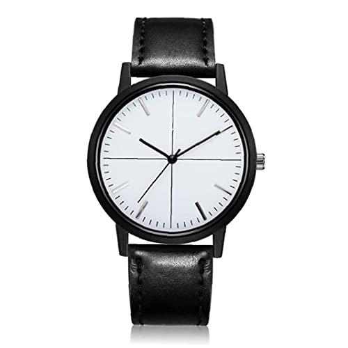 Hombres simple Diseño del reloj de cuarzo analógico clásico negocios reloj con cuero de la PU brazalete del reloj impermeable (Negro), para hombre del reloj impermeable