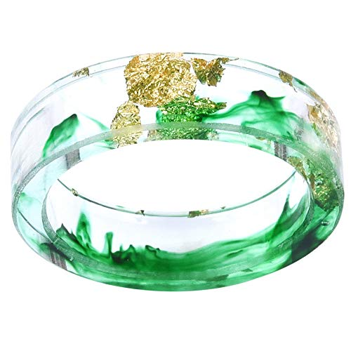 8mm Ocean Style Transparent Plastic Resin Wedding Band Cocktail Party Ring (Green, 6)