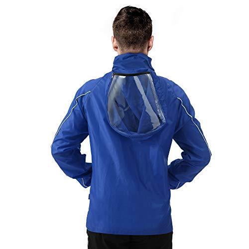 PEAK Chaqueta de lluvia para hombre, ligera, impermeable, con capucha, cortavientos para adultos, Azul / Patchwork, Large