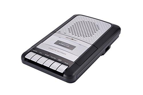 Reflexion CCR8010 Kassettenrecorder Retro, tragbar, eingebautes Mikrofon und Lautsprecher, als Diktiergerät einsetzbar, One-Touch Aufnahme, AUX-In, Kopfhöreranschluss, Mikrofoneingang, schwarz/silber