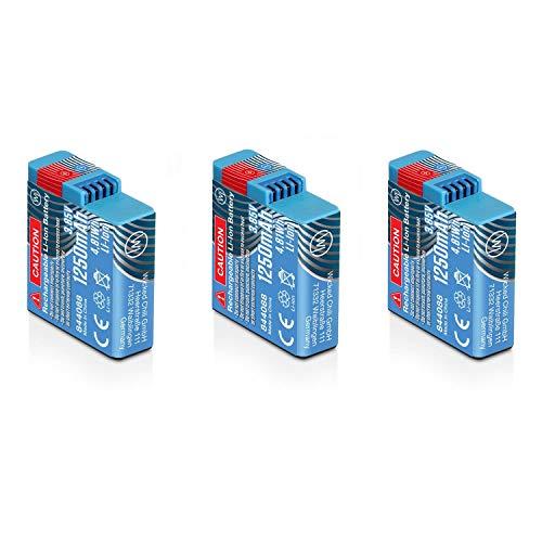 Wicked Chili 3X Akku kompatibel mit GoPro Hero8 Black, Hero7 Black, Hero6 Black, Hero5 Black und Hero2018 - AHDBT-801 / AJBAT-001 Ersatzakku mit 1250mAh (Li-Ion/3,8V/4,8Wh) 3X GOP-801 Battery Pack