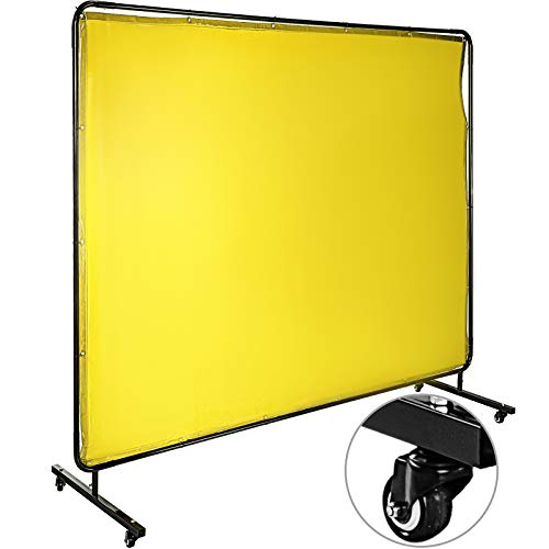 Mophorn Welding Screen with Frame 8' x 6', Welding Curtain with 4 Wheels, Welding Protection Screen Yellow Flame-Resistant Vinyl, Portable Light-Proof Professional