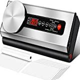 Vacuum Sealer Machine, 80Kpa Vacuum Sealer for Food with Kitchen Food Scale & Stainless Steel Plate & LCD Display, Dry & Moist Food Modes, Automatic Vacuum Air Sealing System For Food Saver