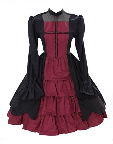 Kawaii-Story JL-655 Schwarz rot Langarm Vampir Dark Gothic Lolita Kleid Kostüm Cosplay (M)