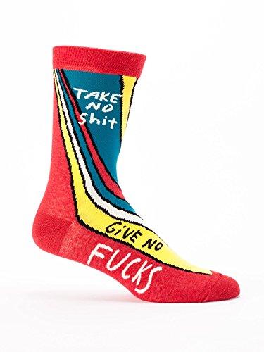 Blue Q Socks, Men's Crew, Take No S--t Give No F--ks,Men's Shoe Size 7-12