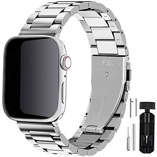 Fullmosa Cinturino per Apple Watch 42mm 44mm, Cinturino in Acciaio Inossidabile Compatibile con iWatch, Cinturini per Apple Watch Serie SE 6 5 4 3 2 1, Argento