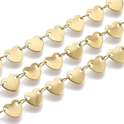 Fashewelry Cadena de eslabones de corazón dorado de 1 metro, cadena de cordón con lentejuelas, para gargantillas, pulseras, collares, bisutería.