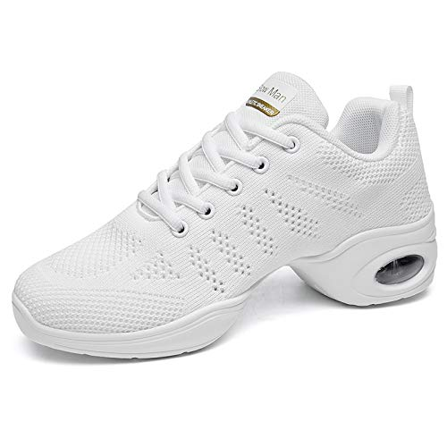 Women's Jazz Shoes Lace-up Sneakers - Breathable Air Cushion Lady Split Sole Athletic Walking Dance Shoes Platform White,8