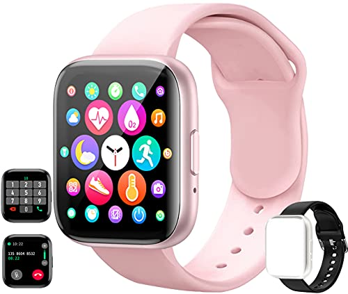 feifuns Smart Watch(Receive/Make Call) 1.54'' Full Touch Screen Fitness Tracker with Life Water-Resistant Heart Rate/Blood Pressure/Oxygen Pedometer Sleep Track for Women Men Android iOS Phone (Pink)