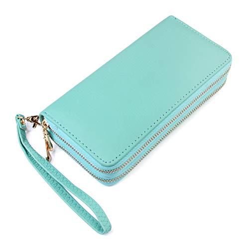 Classic Leatherette Zip Around Wallet - Vegan Leather Zipper Clutch Purse Coin Card Slots, Removable Wristlet (Double Zip Wristlet - Mint)