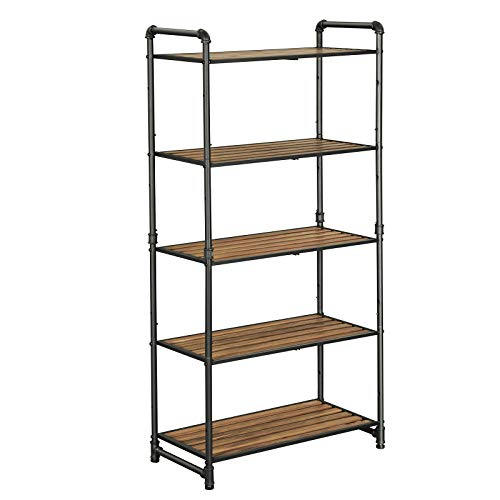 VASAGLE 5-Tier Storage Rack, Bookshelf, Customizable Kitchen Bathroom DIY Shelf, Industrial Extendable Plant Stand with Adjustable Shelves, 25.1 x 12 x 51 Inches, for Living Room, Rustic Look UBSC26BX