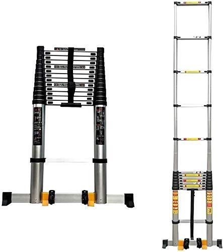 DGDG Extra hoch einziehbare Teleskopleiter for Dachzelt, Multi-Purpose Teleskopleiter mit Stabilizer Bar & Räder (Size : 5m/16.4 ft)
