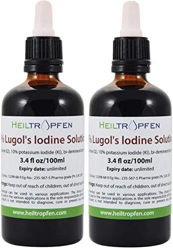 Heiltropfen 2X 100ml Lugol'sche Jodlösung, 5% Lösung! Pharma Qualität, 15% Liquid Formulierung. 5 Prozent elementares Jod und 10% Kaliumjodid. Braunglas, Pipette, Lugolsche Lösung