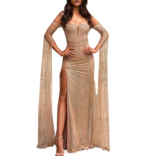 Yunisu Womens Sexy Loose Solid Strapless Long Sleeve Floor-Length Off Shoulder Split Bodycon Cocktail Prom Gown Dress Beige