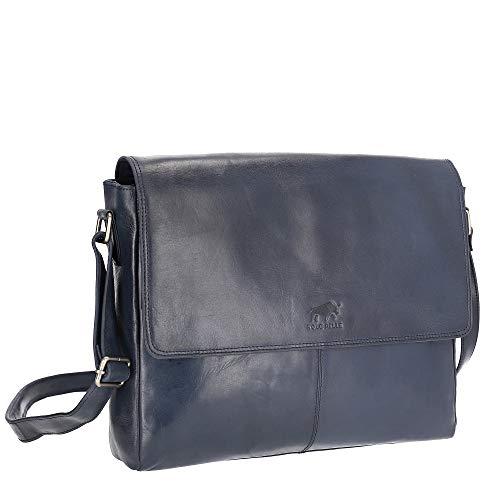 Solo Pelle Business Messenger Tasche/Umhängetasche College Tasche aus echtem Leder Model: Henry 15 Zoll (Navy Blau)
