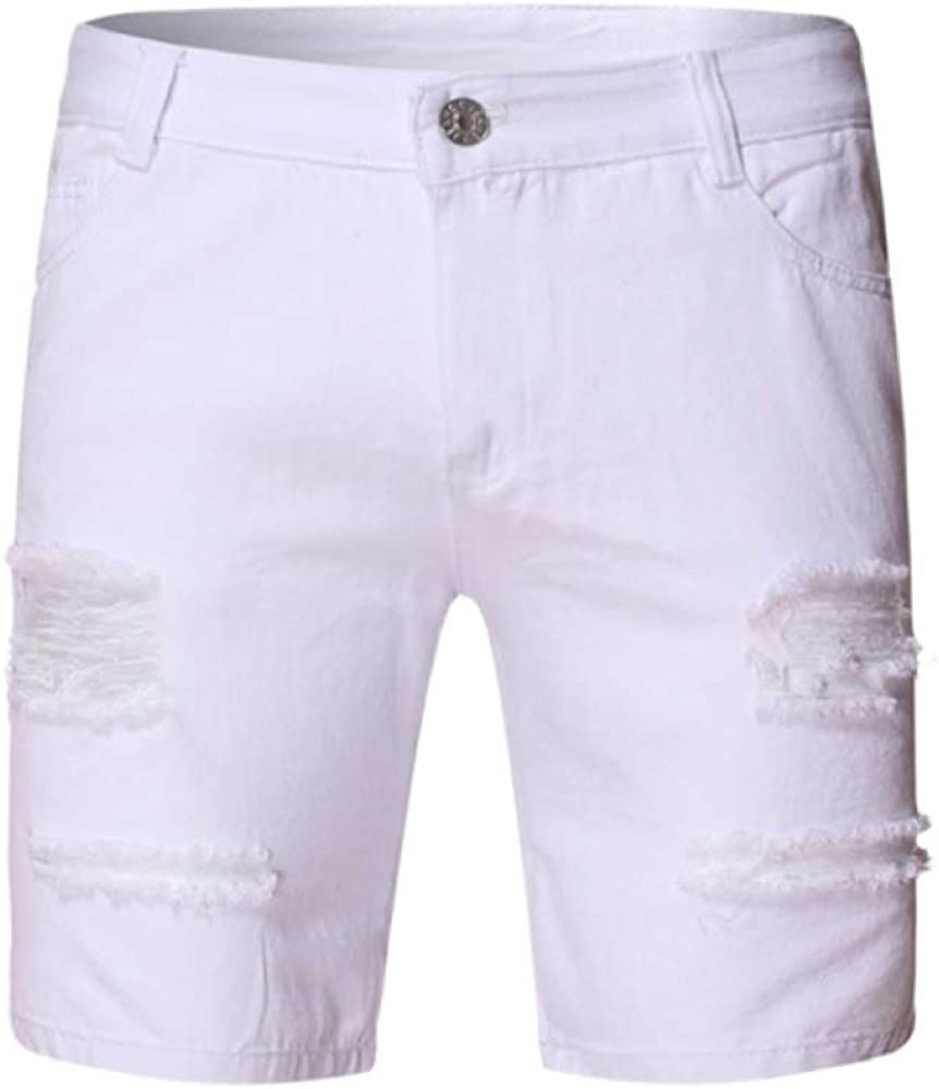Men's Shorts Solid Color Fashion Slimming Ripped Denim Shorts Five-Point Pants
