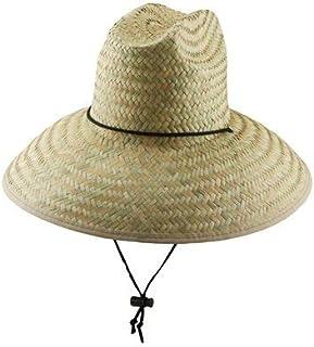 "Lifeguard Sun Hat - Palm Fiber Straw, 5"" Bound Big Brim, Chin Strap with Toggle, Logo Badge"