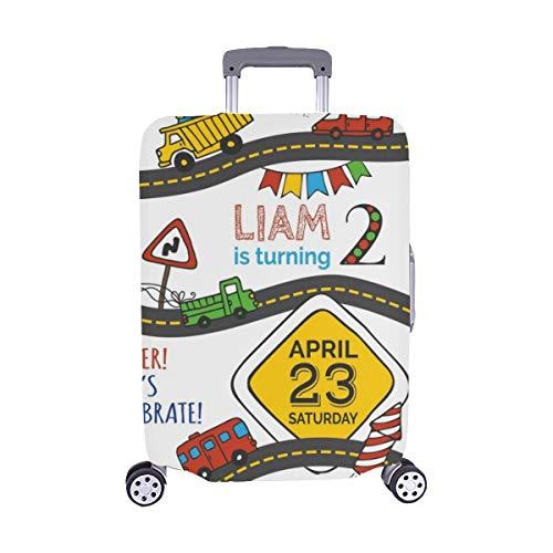 Vector Cumpleaños Invitación Plantilla Niño Handdrawn Patrón Spandex Maleta Trolley de Viaje...