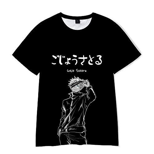 Yuhuaouzhou Verano Transpirable Jujutsu Kaisen Camiseta 3D Impreso Anime Slim Manga Corta Casual Tops O-Cuello pulóver