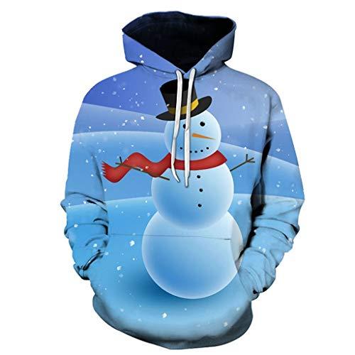 Dasongff Unisex hoodie 3D print hoodie Kerstpullover met capuchon lange mouwen bont sweatshirt ronde hals Xmas sweatshirt capuchon voor dames en heren S-XXXXL Small blauw-C.