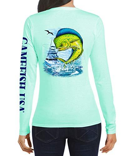 GAMEFISH USA Damen Fischerhemd, LSF 50, leicht, Mikrofaser, feuchtigkeitsableitend, leistungsstark, Mahi - Grün - X-Groß
