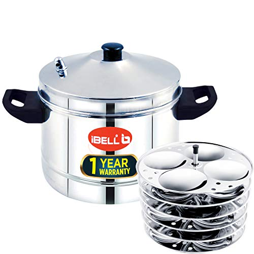 IBELL Stainless Steel Idly Cooker, Induction and Gas Stove Based (Silver , 24 Idlies) 6-Plates