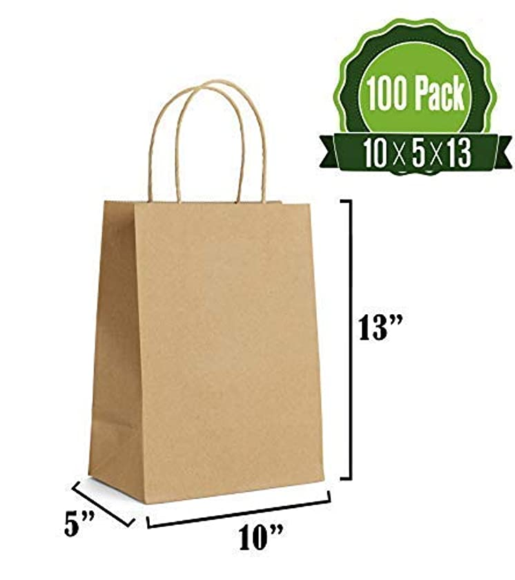 Kraft Paper Gift Bags Bulk with Handles [ Ideal for Shopping, Packaging, Retail, Party, Craft, Gifts, Wedding, Recycled, Business, Goody and Merchandise Bag] (100 Counts) (Brown)